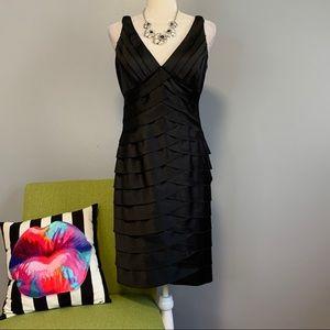 Jones Wear Black Layered Ruffle Sheath Dress